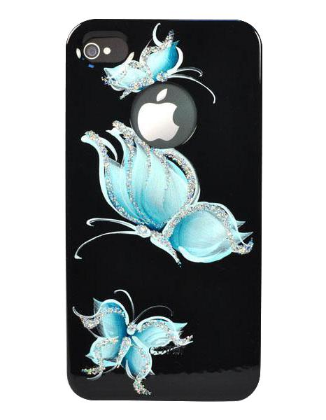 Панель для iPhone 4/4S iCover Hand Printing Pure Butterfly Black/Sky Blue