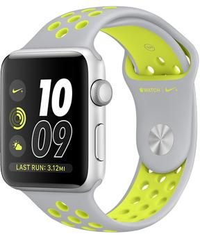 Apple Watch Nike  42mm Silver Aluminum Case with Flat Silver/Volt Nike Sport Band