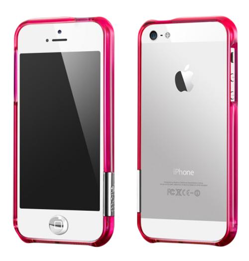 Бампер для iPhone 5/5S More Color Gem Lucent Jelly Ring Pink Fuchsia