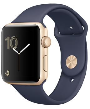 Apple Watch Series 2 38mm Gold Aluminum Case with Midnight Blue Sport BandВторое поколение Apple Watch получило ряд значительных улучшений. Появился штатный GPS?модуль. Часы оснастили водонепроницаемостью на глубине до 50 метров в соответствии со стандартом ISO 22810:2010 (уточняйте детали у производителя). Процессор стал намно...<br>