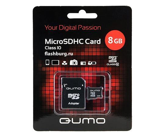MicroSDHC 8GB QUMO Сlass 10 с адаптером SD 8 GbФлеш-карта QUMO MicroSDHC 8GB Class 10 – это универсальная карта памяти, которая подходит для цифровой техники, поддерживающей данный формат карт. Она призвана расширить память различных устройств. Данная карта имеет 10 класс записи – самый высокий и самы...<br>