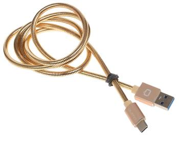 Кабель Qumo USB 3.0 Type-C 1m металлический, золотойИзносостойкий кабель с коннектором типа USB 3.0 Type-C.<br>