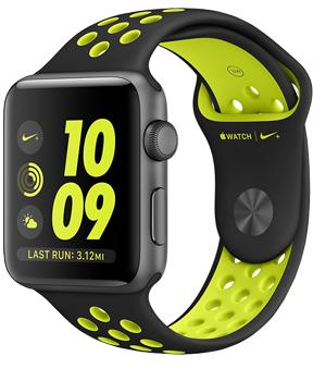 Apple Watch Nike  38mm Space Gray Aluminum Case with Black/Volt Nike Sport Band