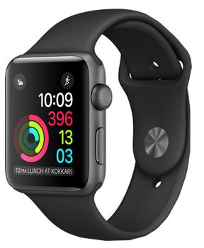Apple Watch Series 1 42mm space grey aluminium case with black sport band