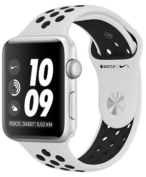 Apple Watch Series 3 Nike+ 42mm Silver Aluminum Case with Pure Platinum/Black Nike Sport BandApple Watch Series 3 Nike+ идеально подходят для регулярных пробежек. Специальная версия смарт-часов получила фирменный ремешок, уникальные циферблаты и особое Run-приложение. В гаджет встроен высотометр, позволяющий следить за подъемами, спусками. Часы о...<br>