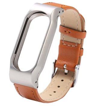 Ремешок кожаный для Xiaomi Mi Band 2 коричневый