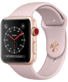 Apple Watch Series 3 38mm Gold Aluminum Case with Pink Sand Sport BandApple Watch Series 3 — прорыв компании Apple на рынке умных часов. Были усилены практически все основные характеристики гаджета. Система стала быстрее, автономность заметно выросла, появился голосовой контакт с Siri. Опыт использования резко улучшился. GP...<br>