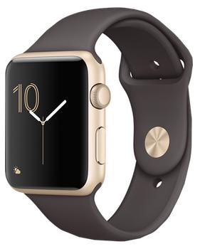Apple Watch Series 1 42mm gold aluminium case with cocoa sport band