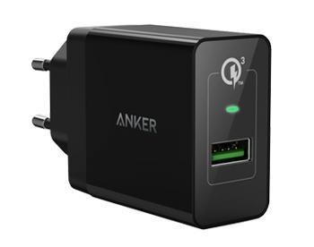 Сетевое зарядное устройство Anker 18W, 3А, 1 умный USB порт Quick Charge 3.0, BlackСетевое ЗУ от компании Anker предназначено для зарядки мобильных устройств от сети переменного тока через USB-порт. Поддержка этим ЗУ технологии Qualcomm Quick Charge 3.0 обеспечивает быструю подзарядку совместимых гаджетов.<br>