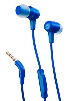 Наушники JBL E15 синиеЭти стильные и компактные наушники - отличный выбор для улицы. Модель E15 от известной компании JBL поставляется с мягкими гильзами-вкладышами. Микрофонный пульт ДУ позволяет принимать входящие телефонные вызовы.<br>