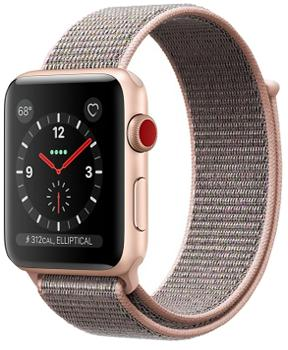 Apple Watch Series 3 Cellular 38mm Gold Aluminum Case with Pink Sand Sport Loop MQKL2<br>