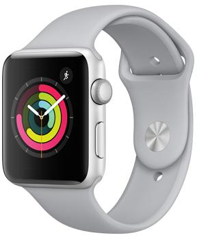 Apple Watch Series 3 38mm Silver Aluminum Case with Fog Sport BandApple Watch Series 3 — прорыв компании Apple на рынке умных часов. Были усилены практически все основные характеристики гаджета. Система стала быстрее, автономность заметно выросла, появился голосовой контакт с Siri. Опыт использования резко улучшился. GP...<br>
