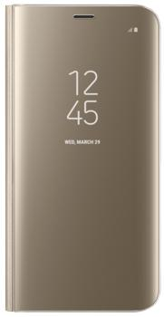Чехол для Samsung Galaxy S8 Clear View Standing Cover goldПрактичный чехол защищает смартфон при падениях и ударах. Не секрет, что гаджеты часто роняют. Их ремонты стоят недешево. Позаботьтесь об этом заранее — защитите любимый девайс. В этом стильном чехле ваш мобильный гаджет будет долго выглядеть новым.<br>
