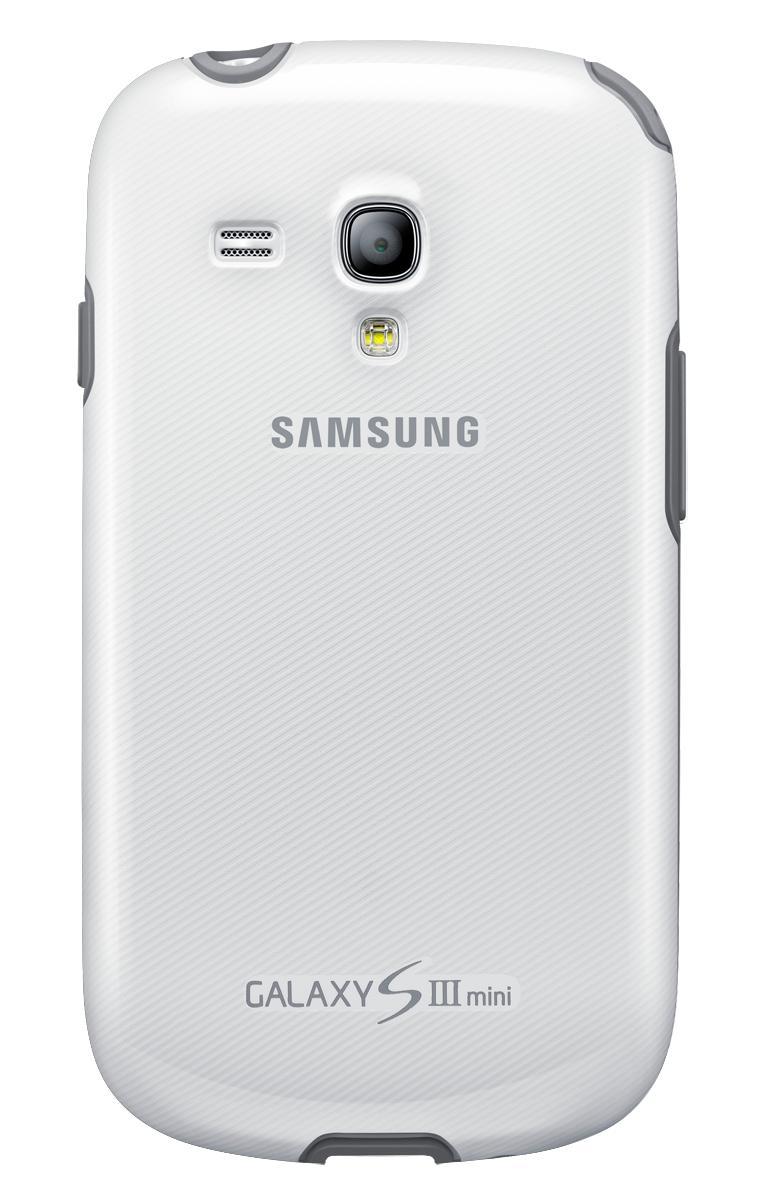 Чехол Samsung для Galaxy S III mini белыйЕсли вам нужна надежная и невесомая защита для вашего Samsung Galaxy S III mini, то оригинальный чехол-накладка от Samsung точно не подведет. Уникальный современный прорезиненный пластик не скользит в руках, не увеличивает телефон в размерах и безукоризне...<br>