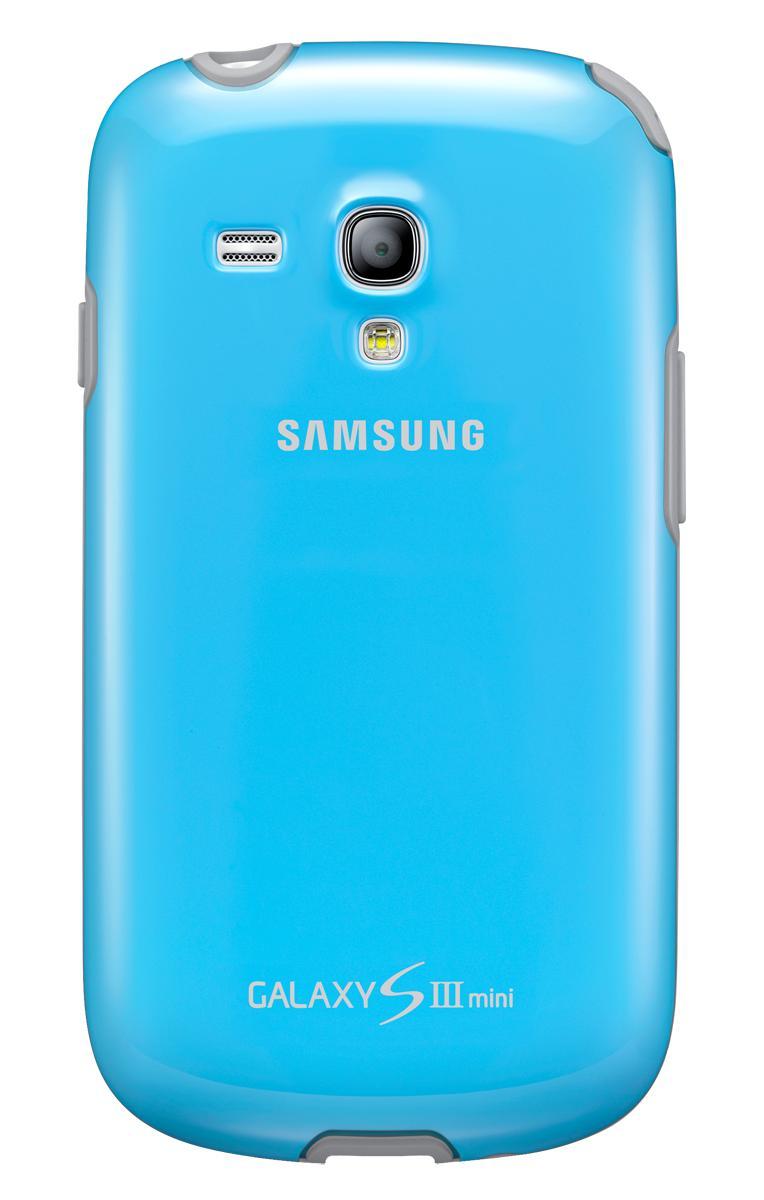 Чехол Samsung для Galaxy S III mini голубойЕсли вам нужна надежная и невесомая защита для вашего Samsung Galaxy S III mini, то оригинальный чехол-накладка от Samsung точно не подведет. Уникальный современный прорезиненный пластик не скользит в руках, не увеличивает телефон в размерах и безукоризне...<br>