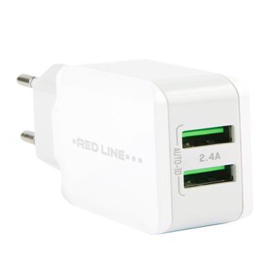 Сетевое зарядное устройство Red Line Superior 2 USB (модель Y2) 2.4A белыйМощное ЗУ, работающее от сети переменного тока, может заряжать 2 мобильных гаджета одновременно.<br>