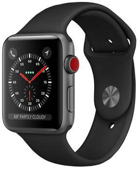 Apple Watch Series 3 Cellular 38mm Space Gray Aluminum Case with Black Sport Band MQJP2
