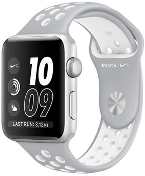 Apple Watch Nike  42mm Silver Aluminum Case with Flat Silver/White Nike Sport Band