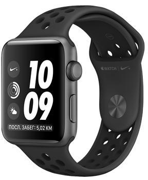 Apple Watch Series 3 Nike+ 42mm Space Gray Aluminum Case with Anthracite/Black Nike Sport BandApple Watch Series 3 Nike+ идеально подходят для регулярных пробежек. Специальная версия смарт-часов получила фирменный ремешок, уникальные циферблаты и особое Run-приложение. В гаджет встроен высотометр, позволяющий следить за подъемами, спусками. Часы о...<br>