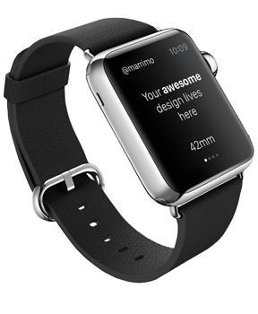 Ремешок для Apple Watch 42mm Rock Genuine Leather Watchband BlackСменный ремешок для смарт-часов Apple Watch 42 мм.<br>