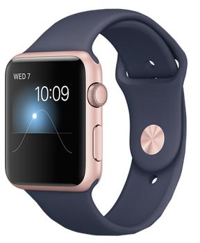 Apple Watch Series 1 42mm rose gold aluminium case with midnight blue sport band