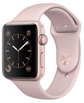 Apple Watch Series 2 38mm rose gold aluminium case with pink sand sport bandВторое поколение Apple Watch получило ряд значительных улучшений. Появился штатный GPS?модуль. Часы оснастили водонепроницаемостью на глубине до 50 метров в соответствии со стандартом ISO 22810:2010 (уточняйте детали у производителя). Процессор стал намно...<br>