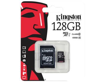 MicroSDHC 128GB Kingston Сlass 10 UHS-I с адаптером SD 128 GbКарта памяти емкостью 128 ГБ предназначена для хранения мультимедиа-файлов.<br>