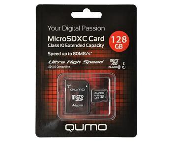 Карта Памяти microSDXC 128Gb Qumo + ADP 128 GbСъемная карта памяти - универсальное хранилище информации, компактное и надежное. Аксессуар может работать с различными электронными гаджетами. Перед покупкой убедитесь в поддержке вашим устройством формата карты и ее емкости.<br>
