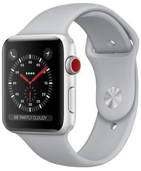 Apple Watch Series 3 42mm Silver Aluminum Case with Fog Sport BandApple Watch Series 3 — прорыв компании Apple на рынке умных часов. Были усилены практически все основные характеристики гаджета. Система стала быстрее, автономность заметно выросла, появился голосовой контакт с Siri. Опыт использования резко улучшился. GP...<br>