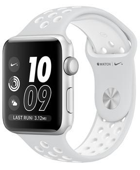 Apple Watch Nike+ 42mm Silver Aluminum Case with Pure Platinum/White Nike Sport BandApple проделала большую работу над вторым поколением фирменных смарт-часов. Встроенный GPS, более яркий дисплей, водонепроницаемость — реальные плюсы девайса. Получайте напоминания, мотивирующие на новые достижения. Делитесь личными рекордами с единомышле...<br>