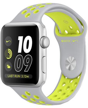 Apple Watch Nike  38mm Silver Aluminum Case with Flat Silver/Volt Nike Sport Band