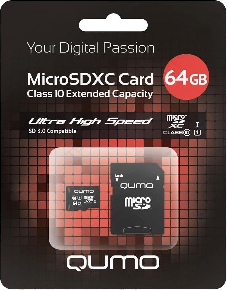 MicroSDXC 64GB QUMO Сlass 10 с адаптером SD UHS-1 3.0 64 GbФлеш-карта QUMO MicroSDXC 64GB Class 10 – это универсальная карта памяти, которая подходит для цифровой техники, поддерживающей данный формат карт. Она призвана расширить память различных устройств. Class 10 в сочетании с UHS-I (Ultra High Speed) обеспечи...<br>