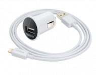 АЗУ CAPDASE Dual USB Car Charger & Cable Pico K2 Lightning 1.2m 2.4A 12W, белый