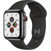 Apple Watch Series 5 GPS+ Cellular 40mm Space Black Stainless Steel Case with Black Sport Band MWX82