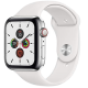 Apple Watch Series 5 GPS+ Cellular 44mm Stainless Steel Case with White Sport Band MWWF2