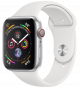 Apple Watch Series 4 GPS+ Cellular 44mm Silver Aluminum Case with White Sport Band MTVR2